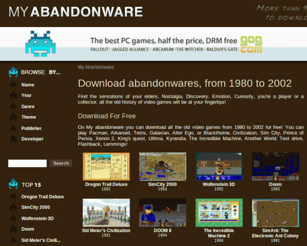 Myabandonware.com te permite descargar juegos clásicos ya olvidados